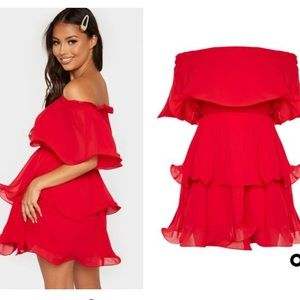 PrettyLittleThing Red Ruffle Bardot Dress BNWT